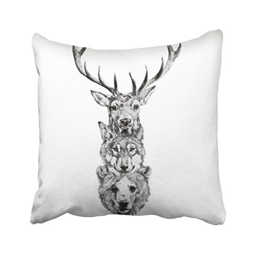 Accrocn Throw Pillow Covers Vintage Fashion Deer Wolf Bear Head Pillowcases Polyester 18 x 18 Inch Cushion Decorative Pillowcase Square With Hidden Zipper Home Sofa