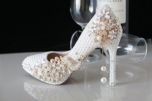 Pointed 10 Sandals Crystal New Prom Wedding Diamond Tassel Heels Heel VIVIOO White 8Cm Bird Metal Bride Shoes Handmade Shoes Wedding Crystal Shoes Pearls CUqBxnw54