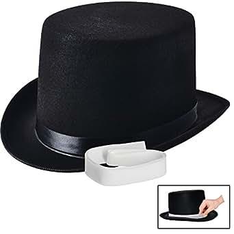 NJ Novelty - Black Felt Top Hat, Costume Dress Up Party Hat + White Band