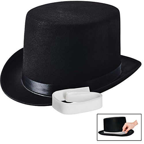 Hat Top Accessory (NJ Novelty - Black Felt Top Hat, Costume Dress Up Party Hat + White Band)