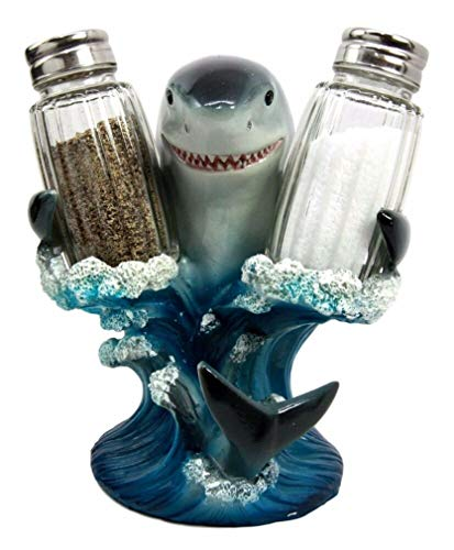 (YK Kitchen Decor Great White Shark Salt Pepper Shaker Holder Figurine Sculpture)