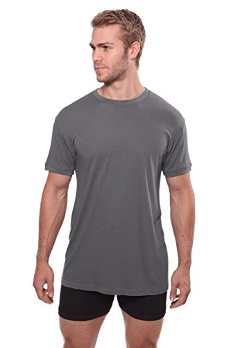 Crew Neck Undershirt For Men - Luxury Shirt In Bamboo Viscose (Charcoal, X-Large) Special Fathers Day Gift MB6001-CHR-XL