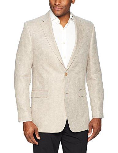 (Tommy Hilfiger Men's Modern Fit Stretch Blazer, tan Herringbone Pattern 40)