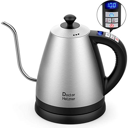 Electric Kettle with Variable Temperature, 1.2L Gooseneck Pour-Over Kettle for Drip Coffee and Tea, BPA-Free 304 Stainless Steel Kettle with LCD Display and Keep Warm Function Kettle, 2200W