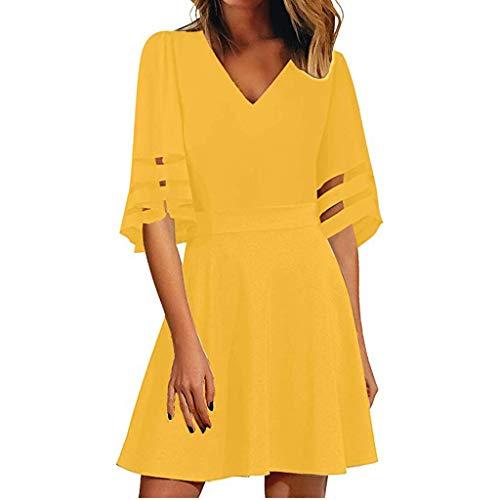 TIFENNY Fashion Mini Dresses for Women V Neck Mesh Panel Blouse 3/4 Bell Sleeve Loose Top Shirt Dress Yellow
