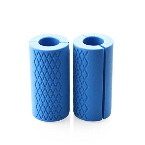 Highmoor Thick Fat Bar Grips, Barbell Grips Non-slip Silicone Rubber Dumbbell Grips Weight Training Arm Muscle Builder Weightlifting Fat Grip for Dumbbell and Barbell by Highmoor