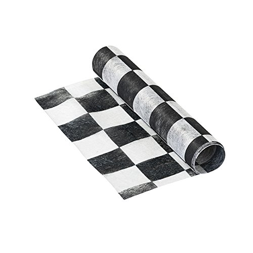 Talking Tables Truly Alice in Wonderland Checkered Fabric Table Runner for a Tea Party or Birthday, Monochrome -