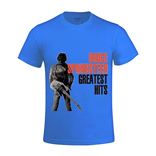 Bruce Springsteen Greatest Hits Men Tee Crew Neck With Sayings Blue (Cheap Mexican Ponchos)