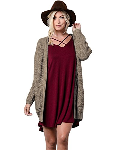 (Anself Women's Open Front Chunky Warm Cardigan Sweater Boho Long Sleeve Loose Cable Knit Outwears with Pockets)