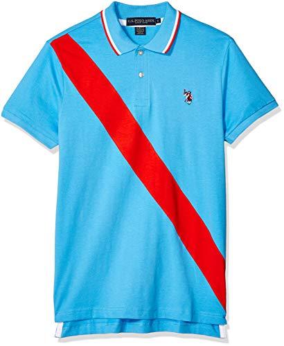 U.S. Polo Assn. Men's Diagonal Stripe Color Block Jersey Polo Shirt, Coast Azure, L