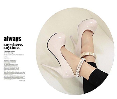 Pompes Femmes Talons de Profondes Boucle de peu la Rivetées Chaussures Xianshu Boîte à Aiguilles Blanc Bouche la 4TdZtWqtFn