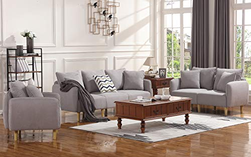 - HONBAY 3 Piece Chair Loveseat Sofa Sets for Living Room Furniture Sets, Light Grey