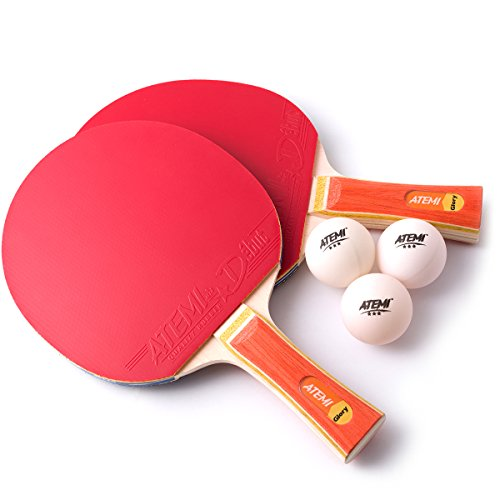 Atemi Ping Pong Paddle Set (2 x Paddles, 3 x Balls) Glory Series - ITTF Approved Table Tennis Paddles & 3-Star Balls - Ideal Table Tennis Racket Gift Starter Pack for Beginner to Advanced Players by Atemi