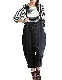Women Cotton Linen Overalls Wide Legs Pattern Jumpsuit Romper With Pockets