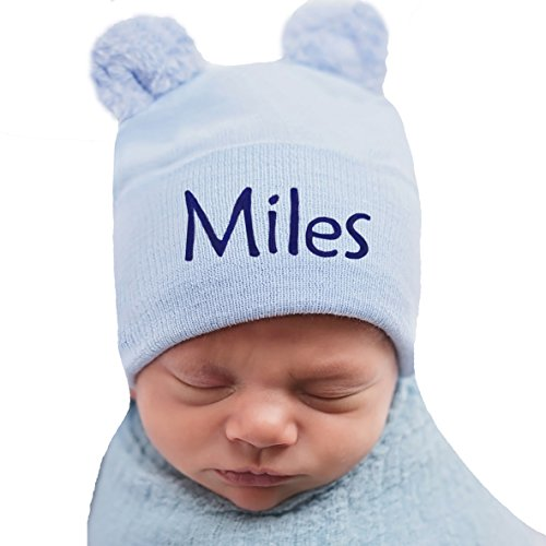 Melondipity Blue Personalized Fuzzy Bear Ears Newborn Boy Hat - Hospital Hat