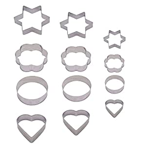 Kumer 12 Pieces Metal Cookie Cutters, 3 Stars Shape, 3 Flowers Shape, 3 Round Shape, 3 Hearts Shape