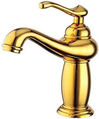 Yadianna バスルームのシンクは、スロット付き浴室の洗面台のシンクホットコールドタップミキサー流域の真鍮シンクミキサータップ非震とう浴室蛇口全銅ヨーロピアンスタイルのゴールデン盆地の蛇口をタップ