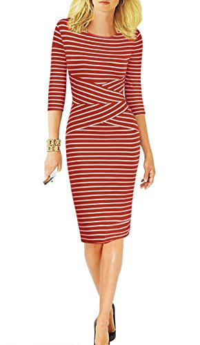 REPHYLLIS Women 3/4 Sleeve Striped Wear to Work Business Cocktail Party Summer Pencil Dress Red M -