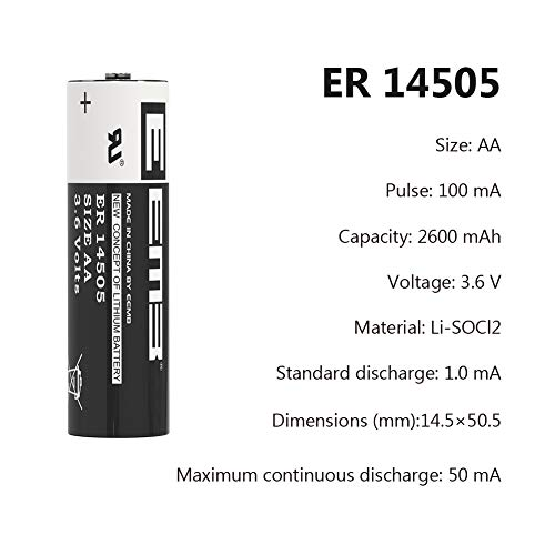 10Packs EEMB AA 3.6V Lithium Battery ER14505 LS14500 Li-SOCl2 2400 mAh XL-060F LR6/AM3 (Non Rechargeable) UL Certified Compatible for Dog Watch Fence Collars Baby Movement Monitor, Alarm Systems by EEMB (Image #1)