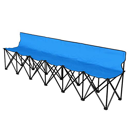 - Flexzion Sports Sideline Team Bench with Back for 6 Person, Collapsible Soccer Seat, Portable Folding Chair Include Carrying Bag - Easy to Fold Up for Camping Bleacher, Football, Outdoor Picnic, Blue