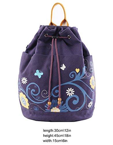 Lona de moda impresa Mochilas de doble hombro pequeñas mochilas Escuela Lindo Bolso de escuela , deep purple purple