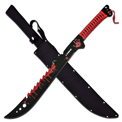 Z Hunter ZB-124RD Fantasy Fixed Blade Knife, Red/Black Blade, Red Cord-Wrapped Handle, (Hunter Hunting Knife)
