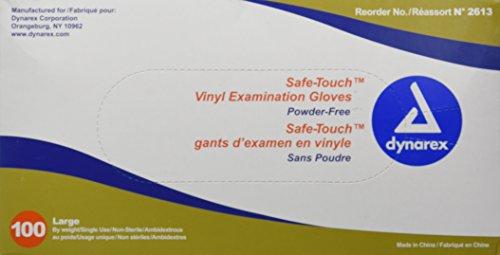 (Dynarex Synthetic Vinyl Powder Free Glove, Large, 100)