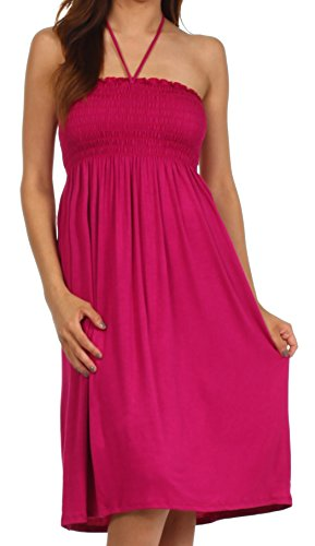 [Sakkas 6407 Everyday Essentials String Halter Dress - Magenta - Small] (Halter Jersey Tie)