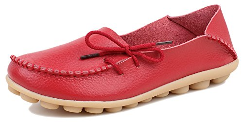 Kunsto Women's Leather Flats Shoes US Size 7 Red