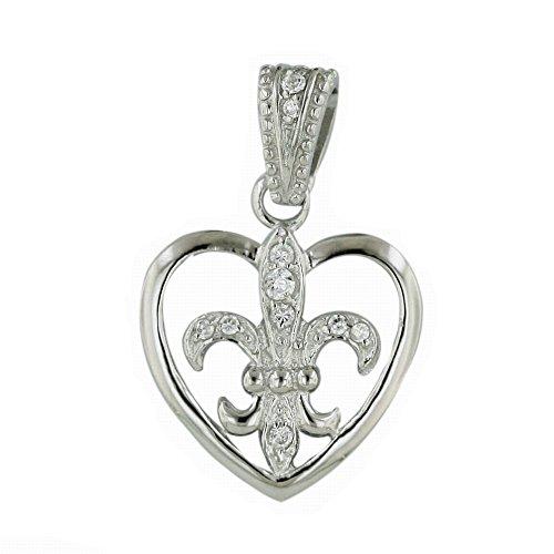 925 Solid Sterling Silver Dainty 18mm CZ Fleur De Lis Heart Pendant / Charm for Necklace or Bracelet