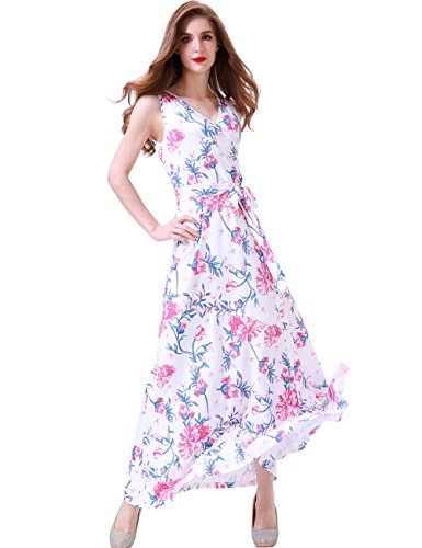 Bust Dress - Melynnco Women's Floral Sleeveless Faux Wrap V Neck Long Summer Maxi Dress Medium White