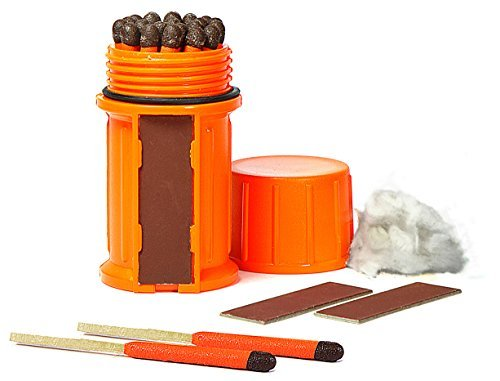 : UCO Stormproof Match Kit with Waterproof Case, 25 Stormproof Matches and 3 Strikers - Orange
