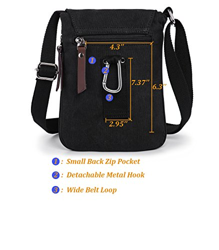 Ranboo Cross-Body Messenger Bag Casual Shoulder Bags Mans Satchel Travel Hiking Work Cellphone Purse Crossbody Men Belt Pouch Holster Small Carrying Bag Day Packs Zipper Outdoor Sports Black by Ranboo (Image #3)