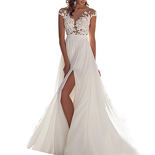 Chady Chiffon Beach Wedding Dress 2018 Lace Back Long Tail