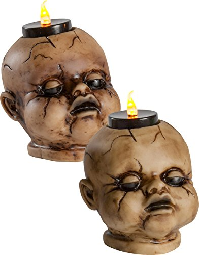 Cracked Baby Doll Face Candle Holder Tealight Set Halloween (Halloween Baby Doll Face)