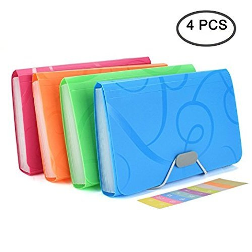 13 Pockets Expanding Files Folder Small Expandable File Folder with Tabs Organizer for Receipts Coupons and Tickets ,4 Pack by Erlvery DaMain (Image #6)
