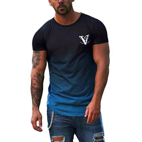 Xlala Men's Short Sleeve Round Collar Elastic Gradient Color Elliptical Hem Casual Outdoor Sports Fitness T Shirt Letter Printing Top Slim Fit Shirt (Blue, L) ()
