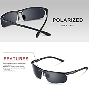 PAERDE Men's Sports Style Polarized Sunglasses for Men Driving Cycling Fishing Golf Running Unbreakable Metal Frame Driver Glasses PA01