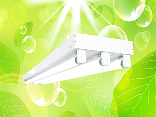 DuroLux DL343 T8 4Ft Fluorescent 3 Lamps Grow Lighting System with 10000 Lumens and 5000K Full Spectrum with Bulbs