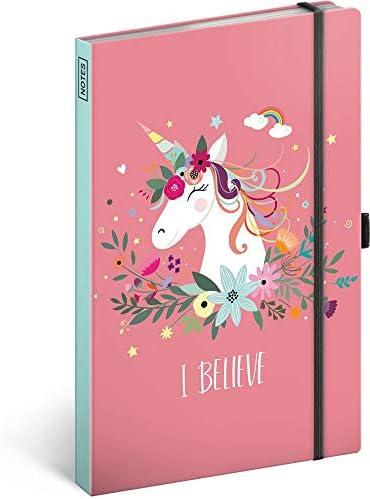 Notizbuch mit Gummiband liniert - Notizblock für Frauen und Mädchen - Tagebuch Journal Notebook für Schule und Arbeit (Einhorn)