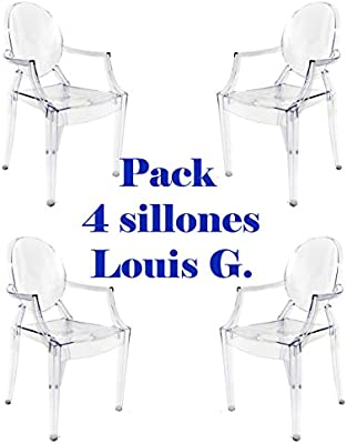 Oui Home - Pack 4 sillas Louis Ghost Transparentes: Amazon.es: Hogar