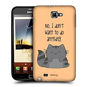 AIYAYA Samsung Case Designs Do Nothing Wilbur the Cat Protective Snap-on Hard Back Case Cover for Samsung Galaxy Note N7000 I9220
