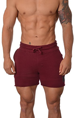 YoungLA Men's French Terry Solid Bodybuilding Gym Running Workout Shorts Burgundy XX-Large