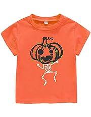 AMMENGBEI Halloween Toddler Baby Pumpkin Outfit Skeleton Short Sleeve T-Shirt Kids Tees for Boys Girls
