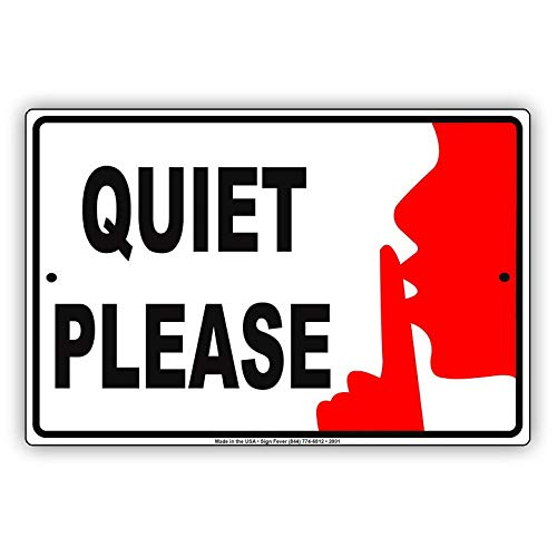KPSheng Quiet Please Shh with Graphic Restricted Alert Caution Warning Aluminum Metal 12 x 8 Sign Plate from KPSheng