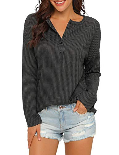 luvamia Women's Casual Waffle Knit Tunic Tops Drop Shoulder V Neck Henley Shirt Dark Grey Size L