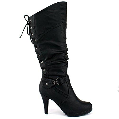 Top Moda Damen Kniehohe Stiefel mit Schnürung Premium Schwarz