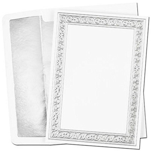 Filigree Flat (Silver Filigree Printable Flat Cards With White Silver Foil Lined Envelopes - Set of 100)