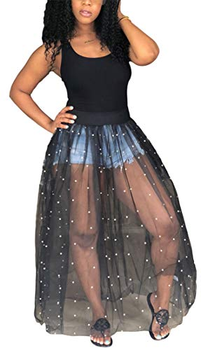 TshineY Women Sleeveless Sheer Mesh Bodycon Maxi Dress Bodysuit Party Clubwear ()