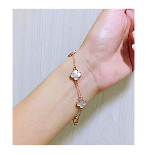 (Red Black Onyx Malachite 18K Gold Plated Four-leaf Clover Bracelet/Classic Fashion 925 Sterling Silver Leaf Van Cleef Clover Pendant Bracelets for Women&Girls (White-rose gold))